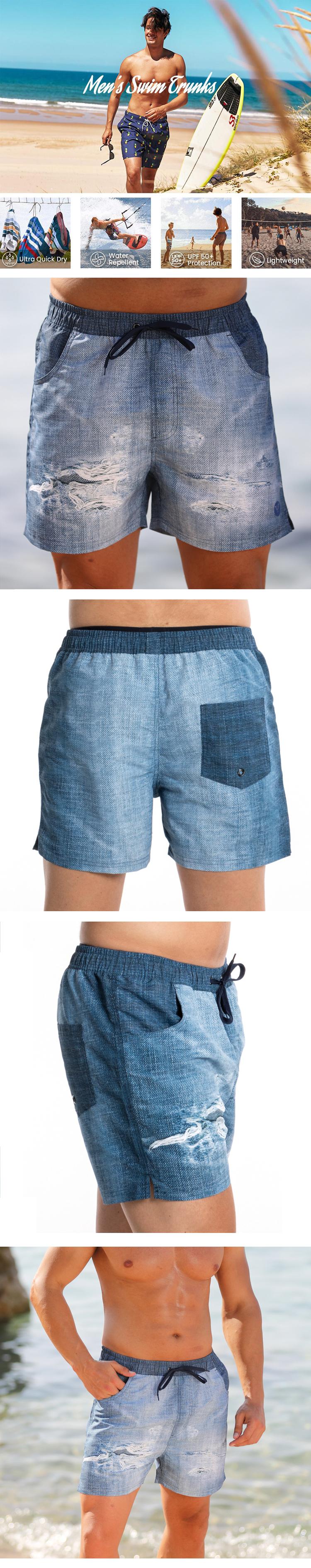 Stamgon denim drawstring swim trunks Mens surfing borad shorts with pockets (2)